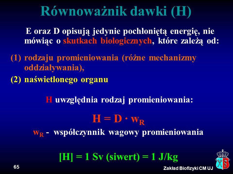 Równoważnik dawki (H) H = D · wR [H] = 1 Sv (siwert) = 1 J/kg